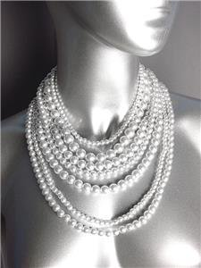 CLASSIC Graduated 7 Strands White Pearls Layered Drape Necklace Earrings Set