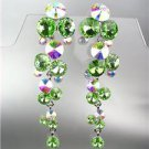 EXQUISITE Green Iridescent Czech Crystals WATERFALL Pageant Bridal Prom Earrings