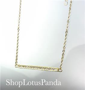 CHIC 18kt Gold Plated CZ Crystals HORIZONTAL BAR Pendant Petite Dainty Necklace