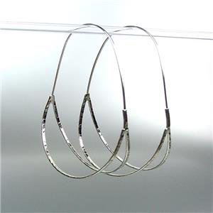 CHIC & UNIQUE Urban Anthropologie Silver Plated Double Curved Oval Hoop Earrings