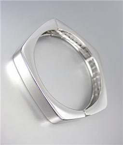 CHIC & UNIQUE Silver Metal Geometric Pentagon Hinged Bangle Bracelet