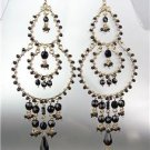 STUNNING Black Onyx Crystal Beads Gold Chandelier Dangle Peruvian Earrings 13BK