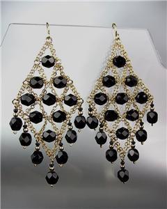 EXQUISITE Black Onyx Gemstone Gold Chandelier Peruvian Earrings