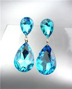 GLITZY Teal Blue Czech Crystals Bridal Queen Pageant Prom Earrings 2631