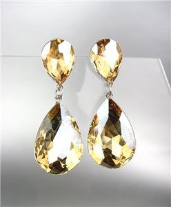 GLITZY Champagne Brown Czech Crystals Bridal Queen Pageant Prom Earrings 2631