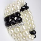 Elegant Boutique Creme Pearls Black Crystals Stretch Bracelet