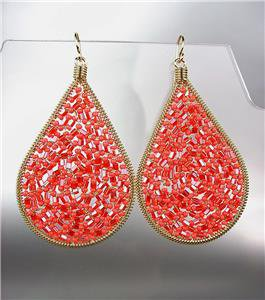 CHIC Coral Red Peruvian Crystals Beads Gold Metal Chandelier Dangle Earrings