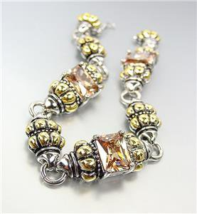EXQUISITE Emerald-Cut Brown Topaz CZ Glacier Crystal Gold Silver Caviar Bracelet