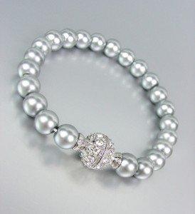 ELEGANT Designer Style Gray Pearls CZ Crystals Magnetic Clasp Bracelet