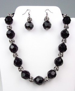 Bejeweled Black Lucite Crystals Rhinestone Balls Necklace Earrings Set