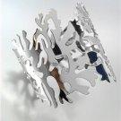 CHIC & UNIQUE Silver Metal Coral Motif Cuff Bracelet