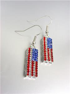 SILVER Red White Blue Swarovski Crystals Patriotic USA American Flag Earrings