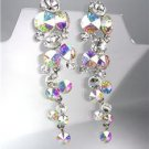 EXQUISITE Clear Iridescent AB Czech Crystals WATERFALL Dangle CLIP Earrings