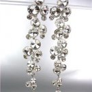 STUNNING Clear Czech Crystals WATERFALL Drippy Long Dangle Earrings