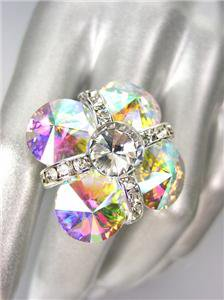 GLITZY SPARKLE Clear Iridescent AB Czech Crystals Cocktail Ring