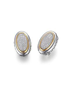GORGEOUS Balinese Silver Gold Pave CZ Crystals Oval Omega Latch Earrings