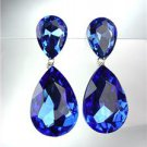 GLITZY Sapphire Blue Czech Crystals Bridal Queen Pageant Prom Earrings 2631