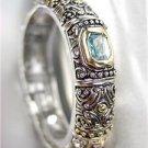 GORGEOUS Designer BALINESE Silver Gold Aqua Blue Amethyst CZ Crystals Bracelet