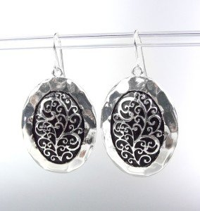 Designer Style Silver Black Filigree Oval Dangle Earrings