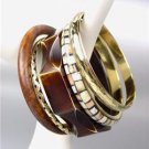 CHIC 5 PC Natural Brown Wood Brass Horn Resin Bangle Bracelet
