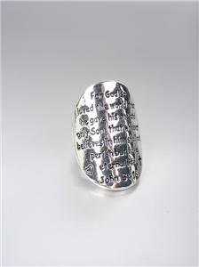 INSPIRATIONAL Religious Scripture Silver Oval JOHN 3:16 Stretch Ring