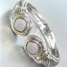CLASSIC Pave CZ Crystals End Tips Silver Dots Cable Hinged Cuff Bracelet