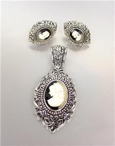 CLASSIC Brighton Bay Silver Filigree White Cameo Pendant & Earrings Set