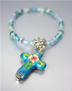 DECORATIVE Blue Multi Cloisonne Enamel Cross Charm Beads Stretch Bracelet