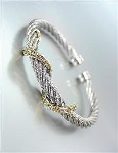 CLASSIC Twisting Gold Metal CZ Crystals Swirl Silver Cable Cuff Bracelet