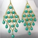 EXQUISITE Aqua Blue Green Aventurine Gemstone Gold Chandelier Peruvian Earrings