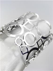 CHIC & UNIQUE Thin Silver Metal Geometric WIDE STATEMENT Cuff Bracelet