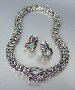 Designer Style Silver Cable Gold Blue Topaz Crystal Magnetic Mesh Necklace Set
