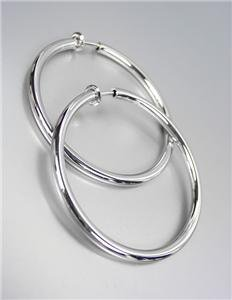 "CLASSIC Lightweight Silver Metal Round 1 3/4"" CLIP ON Hoop Earrings"