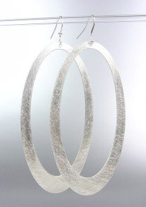 Lightweight CHIC & Modern Burnished Silver Flat Metal Long Oval Dangle Earrings