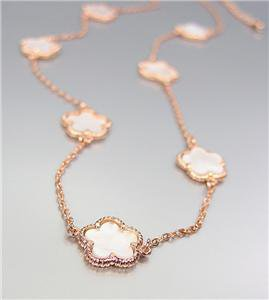 ELEGANT 18kt Rose Gold Plated Mother of Pearl Shell CLOVER CLOVERS Necklace