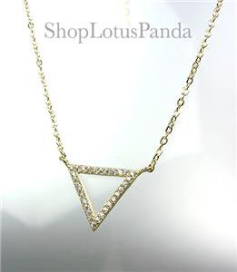 CHIC 18kt Gold Plated CZ Crystals TRIANGLE Pendant Petite Dainty Necklace
