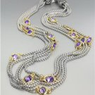 GORGEOUS Silver Box Chain Cables Purple CZ Crystals 5 Strands Magnetic Necklace