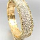 EXQUISITE SHIMMER Gold Pave CZ Crystals Stretch Links Bangle Bracelet