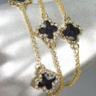 NEW 18kt Gold Plated Chains Black Enamel Clover Clovers CZ Crystals Bracelet