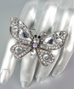 CHUNKY Antique Silver Metal Clear Iridescent AB Crystals Butterfly Stretch Ring