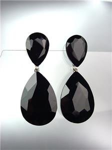 GLITZY Black Onyx Czech Crystals Bridal Queen Pageant Prom Earrings 2631