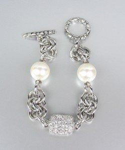 Designer Style Creme Pearls Pave CZ Crystals Kali Toggle Bracelet