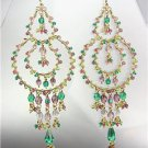 GORGEOUS Multicolor Crystals Peruvian Beads Gold Chandelier Dangle Earrings B14