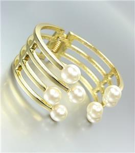STYLISH & ELEGANT Designer Style Creme Pearls Gold Metal Hinged Cuff Bracelet