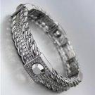 CLASSIC Designer Style Antique Metal Hematite CZ Crystals Stretch Bracelet
