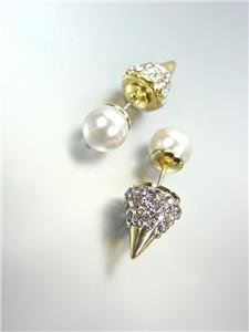 Urban Anthropologie GOLD Crystals Spike Pearl Peek A Boo Double Sided Earrings