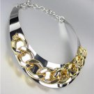 CHIC & STYLISH Silver Chunky Gold Metal Chain Drape Collar Choker Necklace