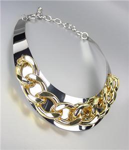 CHIC & STYLISH Silver Chunky Gold Metal Chain Drape Collar Choker Necklace
