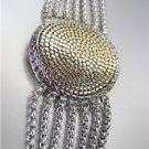 CLASSIC & UNIQUE Chunky Designer Style Gold Dots Silver Cable Medallion Bracelet