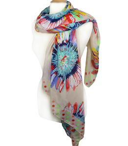 EXPRESSIVE Silky Multicolor Floral Polka Dots Light Beige Fashion Scarf